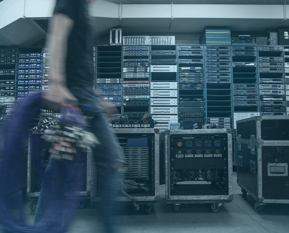 Racks of professional audio equipment