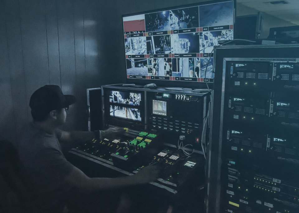 Video technician managing live event